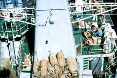 14_Funnel_mainmast_and_Seacat_deck_from_foremast_July1970